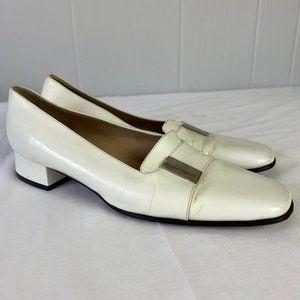 Gucci | 8B. White Leather Kitten Heel Slides